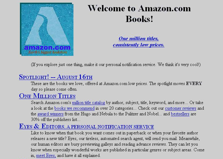 Amazon Old Web page Design