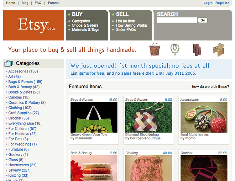 Etsy Old Webpage Design