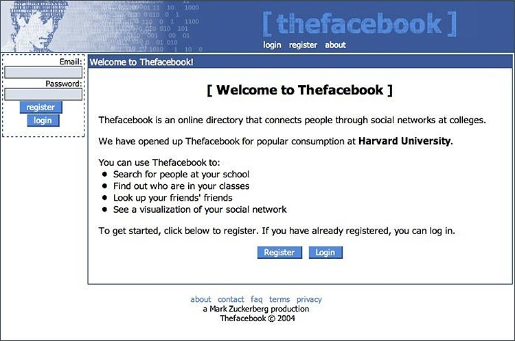 Facebook old design - 2004